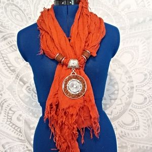 Accessories - NWOT Orange Scarf with Pendant